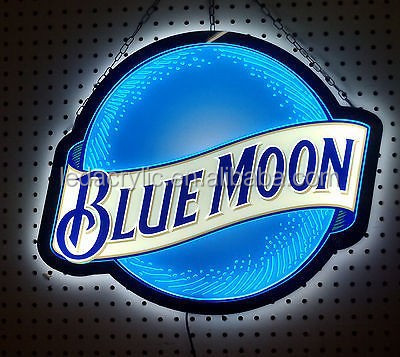 BLUE MOON BEER LED OPTI NEON BAR LIGHT SIGN