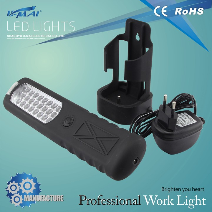 most popular ce rohs waterproof switch 24+3 portable led work light from p.r.c