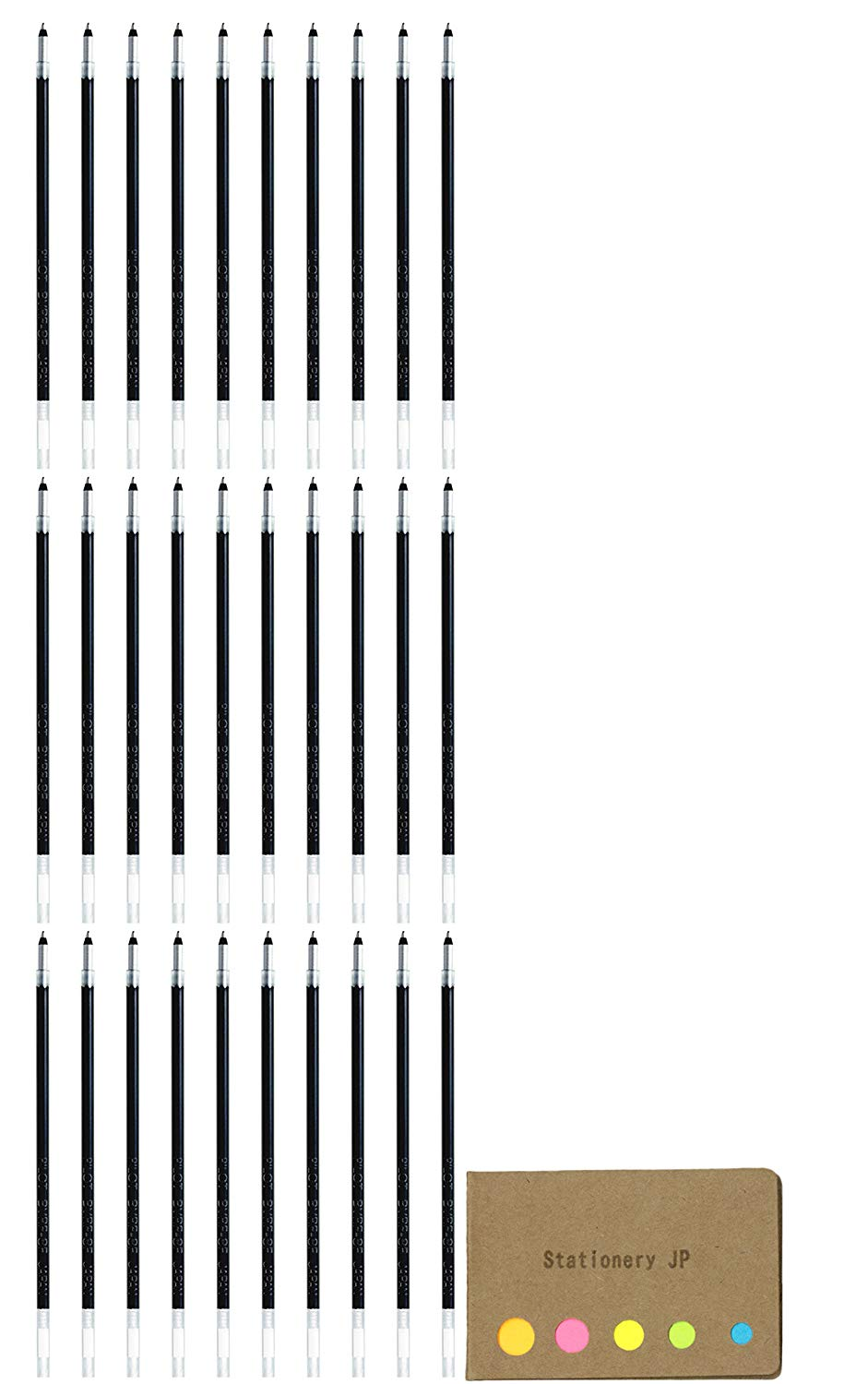 Pilot Acroball Advanced Ink Refill for Dr. Grip 4+1 Multifunction Ballpoint Pen, Extra Fine Point 0.7mm, Black, 30-pack, Sticky Notes Value Set