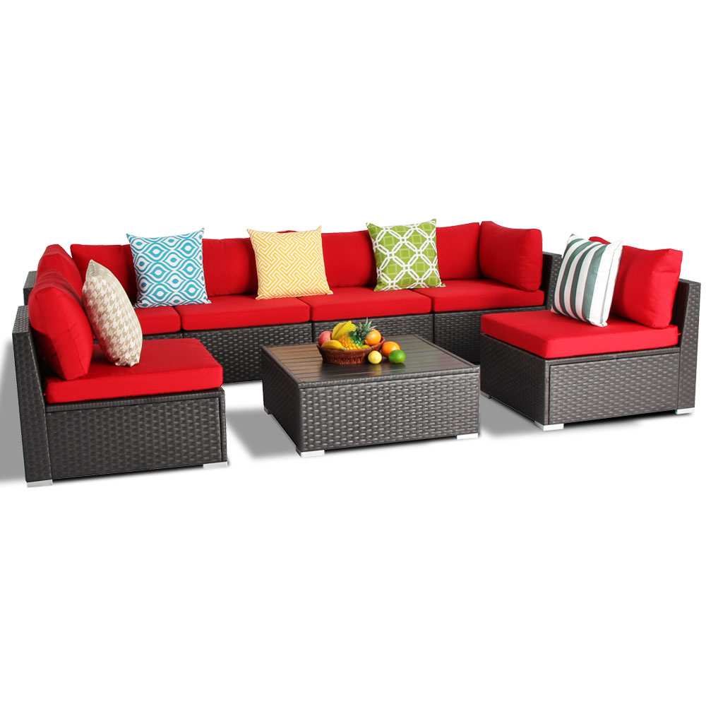 All Weather Rust Proof Aluminum Rattan Wicker Sectio<em></em>nal Garden Furniture with Coffee Table