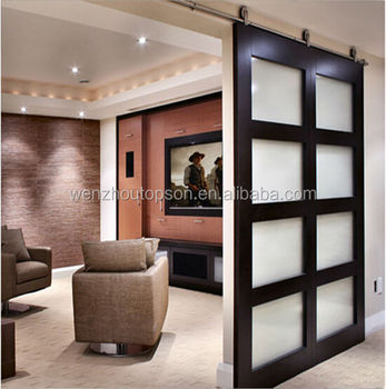 Modern Interior Stainless Steel Solid Wood Sliding Barn Door Hardware