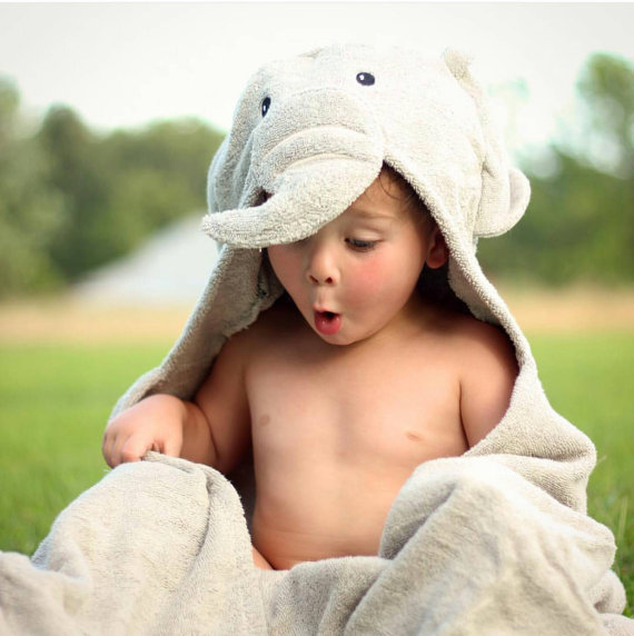 Elephant hooded towel, children towel personalized many colors