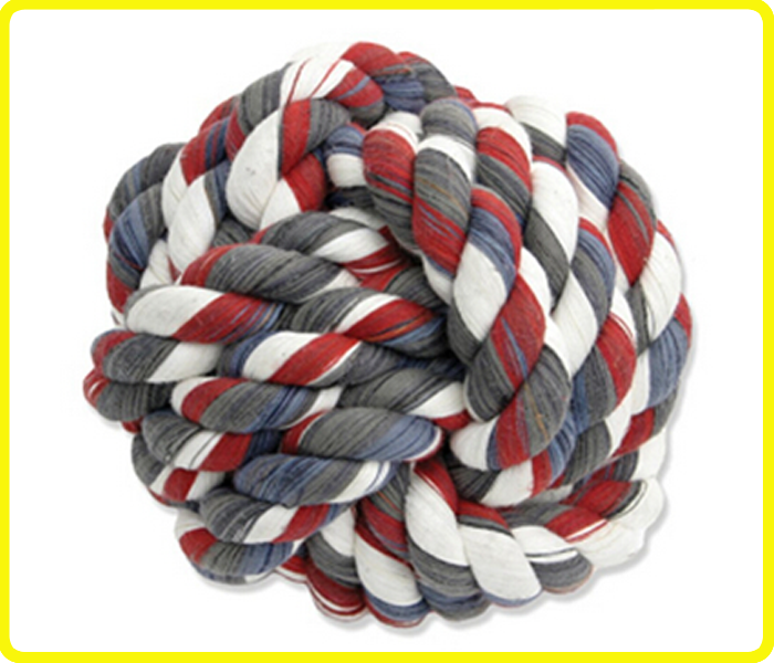 3-strand cotton knotted cotton rope dog chew , monkey fist dog toy , monkeyfist knot