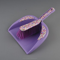 2015new style plastic brush and dustpan printed dustpan and broom