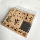 Children's Toy Kids Self Inking Stamps 17pcs Love Series Gift Wood Stamp Set With Ink Pad Wooden