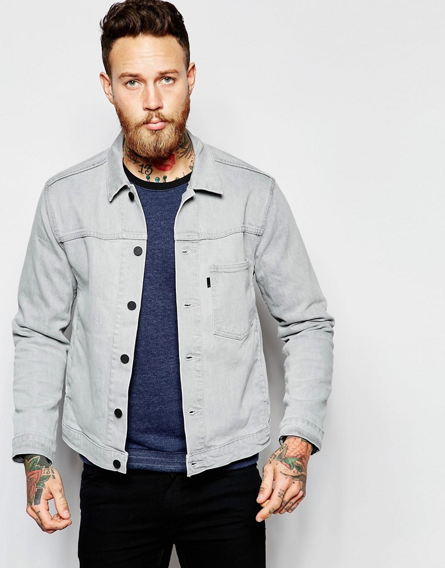 Denim Jacket Trucker In Smog Grey China Fashion Denim Jacket Men ...