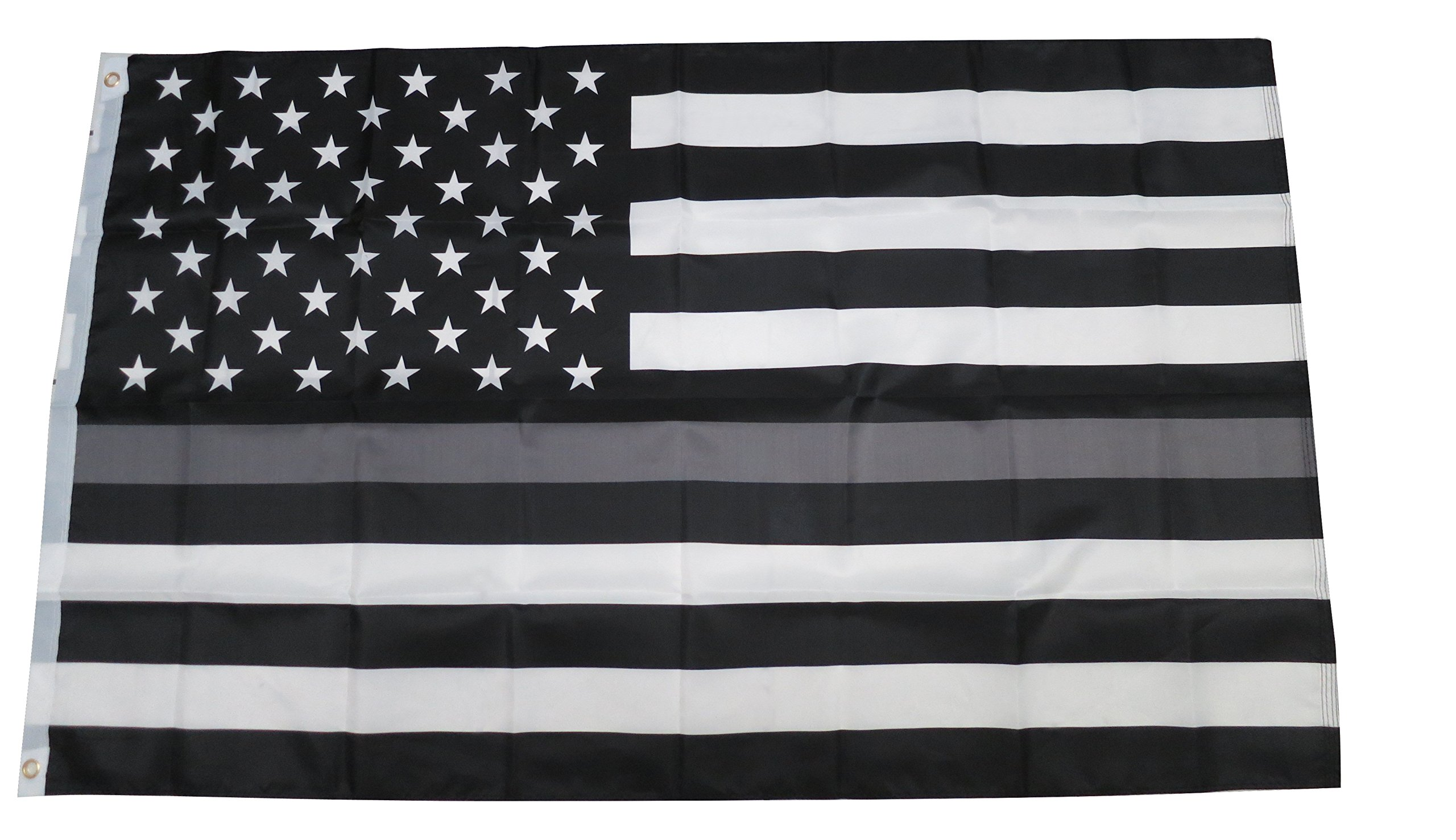 TrendyLuz Flags Thin Gray Silver Line Law Enforcement Correctional Corrections Guards Officers 3x5 Feet Flag
