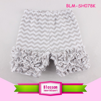 Summer Baby Shorts Grey Chevron Cotton Baby Girls Triple Ruffle Icing Shorts
