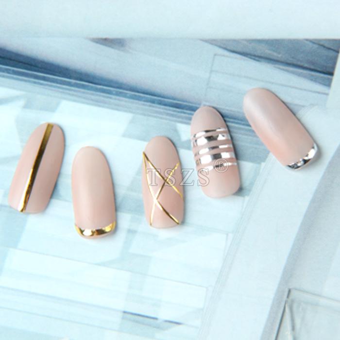 TSZS DIY Gold Silver black white Stripe Tape Line Nail Glitter decals 3D Nail Art designs Adhesive Sticker
