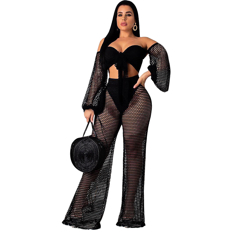 Wholesale Summer hollow strapless lantern sleeve wide leg pants two sets of beach wear SA3509
