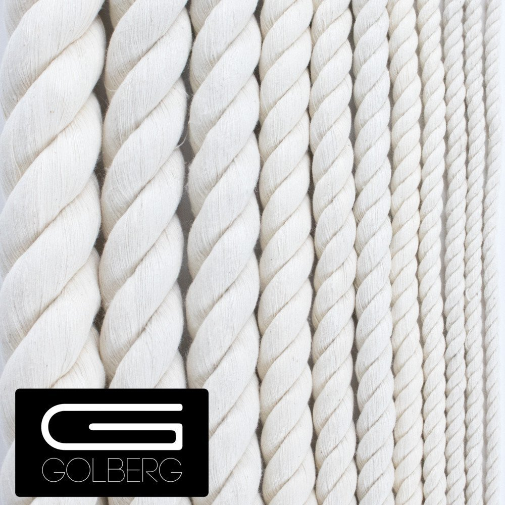 """GOLBERG G Twisted 100% Natural Cotton Rope 5/32"""", 3/16"""", 7/32"""", 1/4"""", 5/16"""", 3/8"""", 1/2"""", 5/8"""", 3/4"""", 1"""", 1 1/4"""", 1 1/2"""" – Perfect for Macramé Crafts - Several Lengths to Choose"""