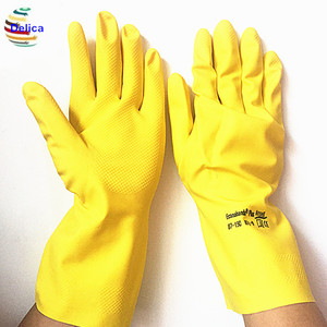 Household Natural Rubber Latex Glove Flocked Lined Cut Cuff For Kitchen Cleaning Dishwashing