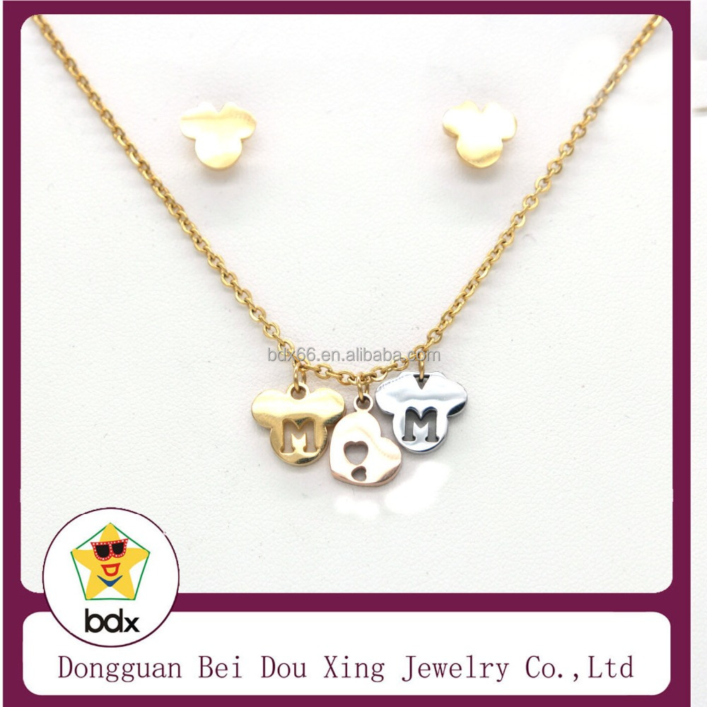 Stainless steel gold plated hollow engraved heart shape charm pendant necklace with cute earring jewelry set