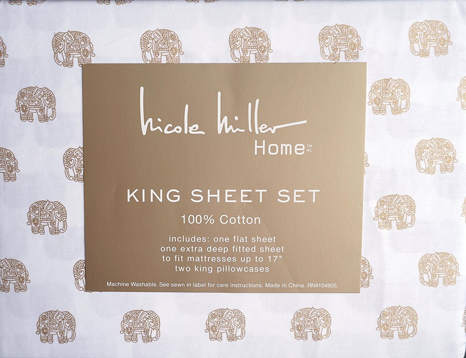 Nicole Miller Bedding 4 Piece Cotton King Sheet Set Gold Decorated Elephants On White