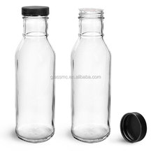 12oz Clear glass barbecue sauce bottles black ribbed lined caps