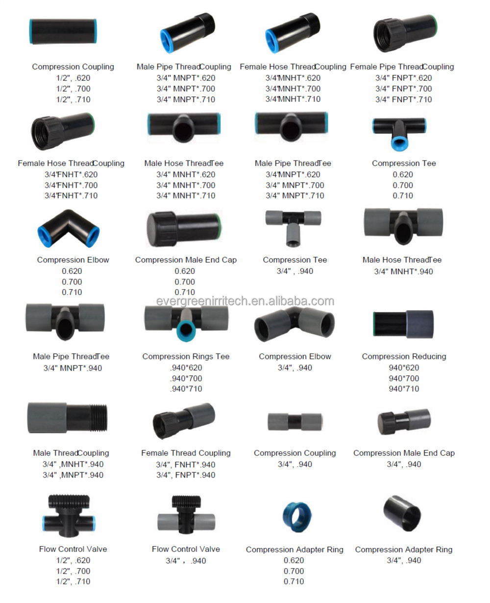 Irrigation black poly pipe fittings buy