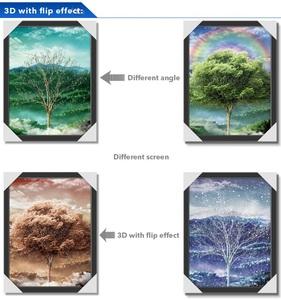 Four Season Tree 3D Picture Flip 3D Wallpaper Home Decor