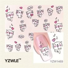 YZWLE 1 Pcs Nail Art de Água Adesivos de Unhas Beleza Wraps Foil Polonês Decalques Tatuagens Temporárias Watermark (YZW1469)