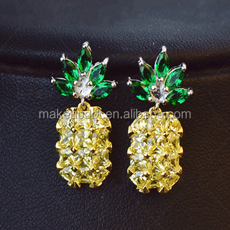 yellow pineapply earring stud CZ