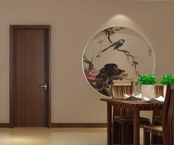 Walnut Wood Color Veneer Laminated Flush MDF Interior Doors Design With Jamb