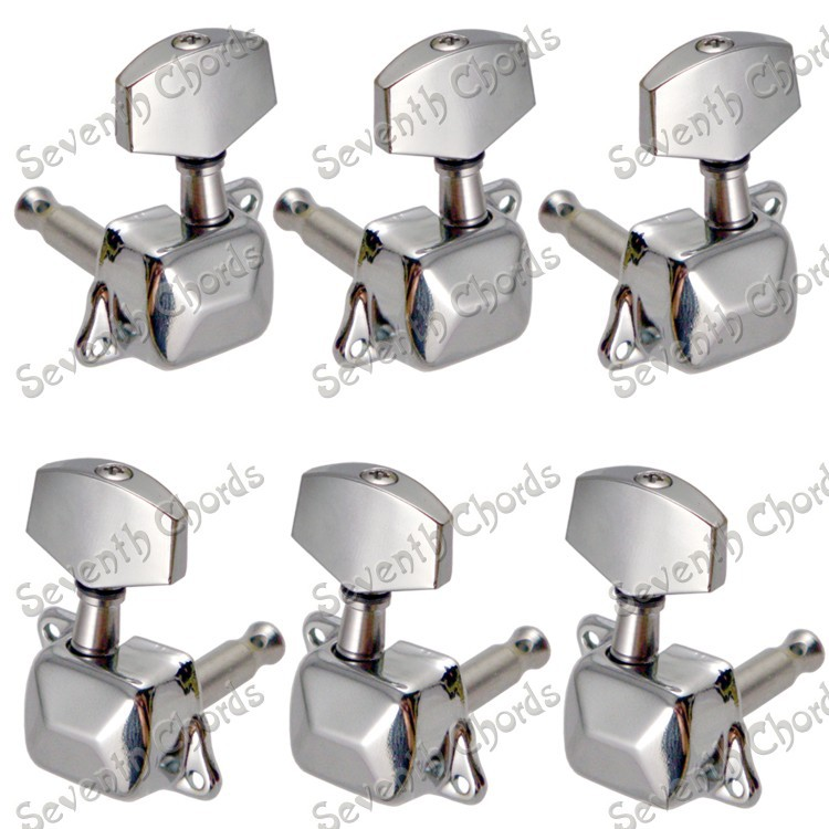 a set chrome semiclosed guitar string tuners tuning pegs keys machine heads for acoustic guitar. Black Bedroom Furniture Sets. Home Design Ideas