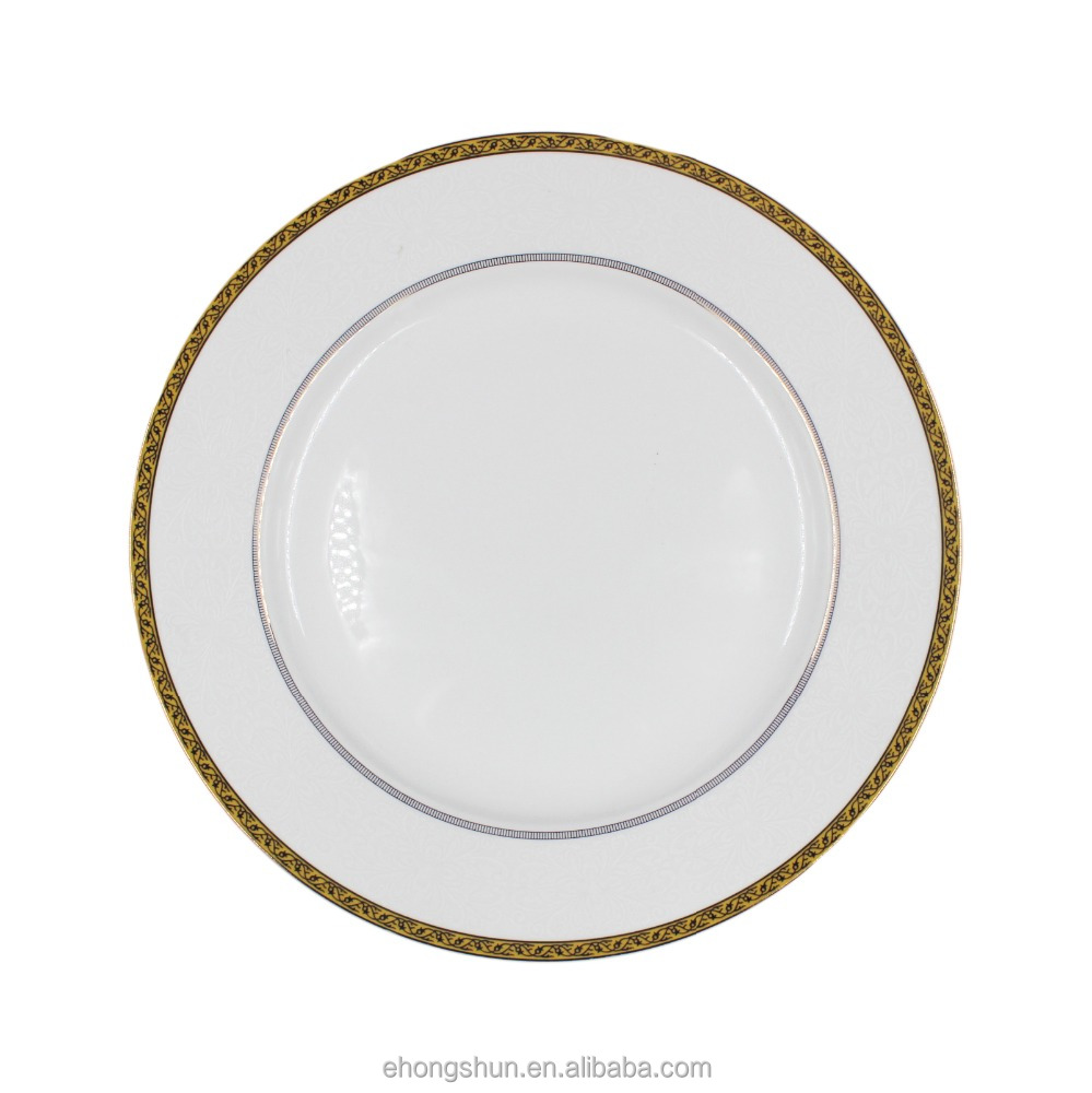 New bone china ceramic flat dinner plate with gold decoration