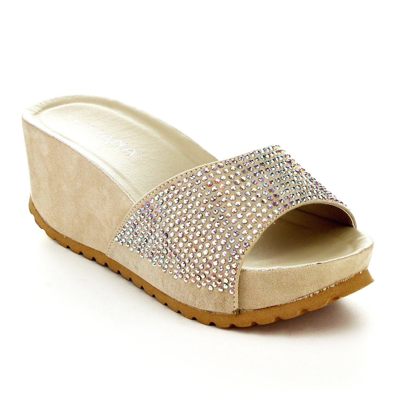 63ba08926c0 Get Quotations · Liliana Genesa-1 Women s Slip-on Comfy Lug Sole Sandal  Wedges