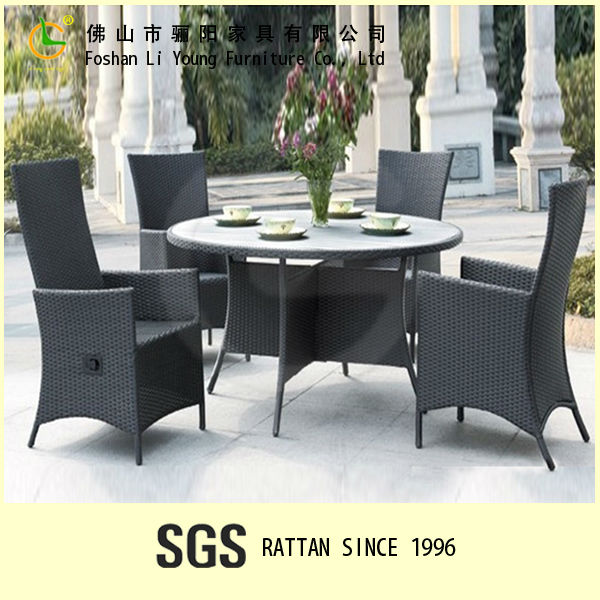 Modern Design Luxury Wicker Rattan Resin Hotel Restaurant Outdoor Furniture Set Antique High Back Chair And