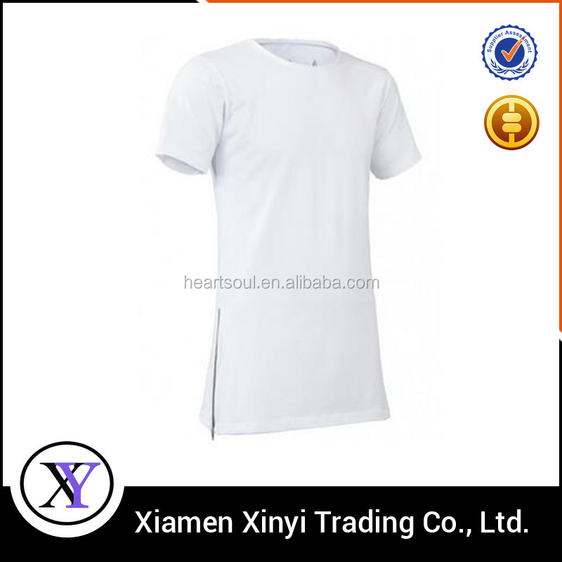 Wholesale Custom Blank or Printed Fashion Popular Men's Zipper Long Tshirt