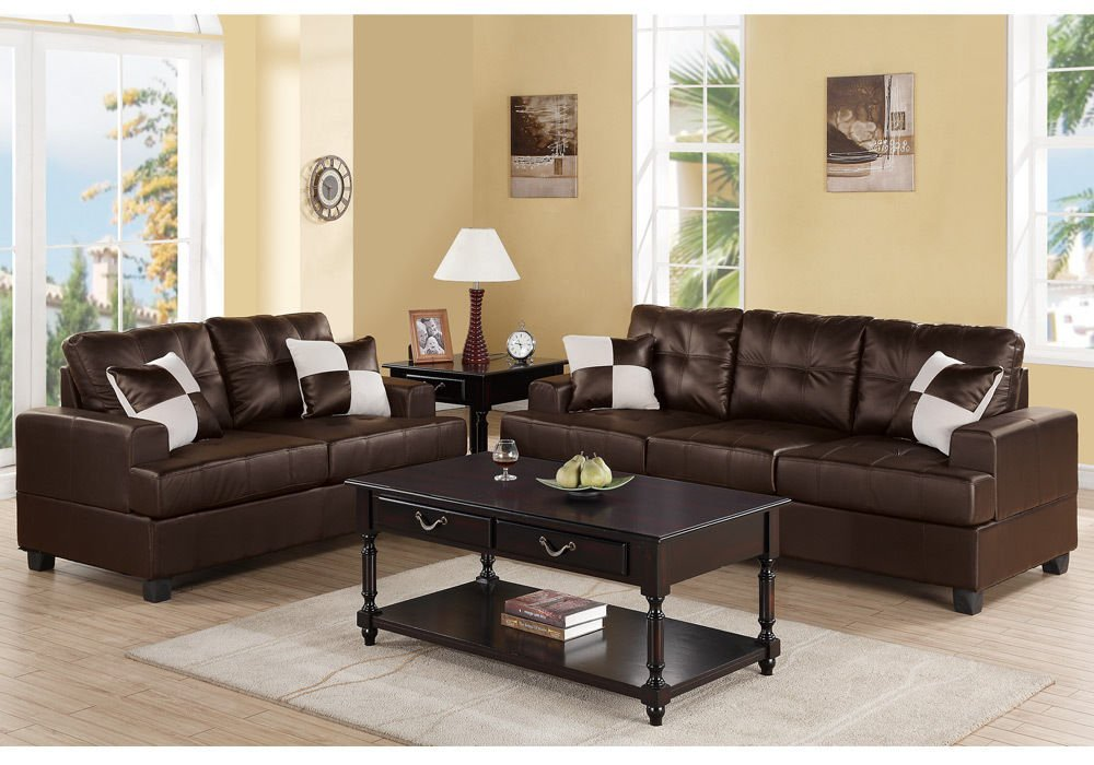 Get Quotations · 1PerfectChoice Modern Living Room 2 Pcs Sofa Couch Loveseat  Set Espresso Bonded Leather Pillows