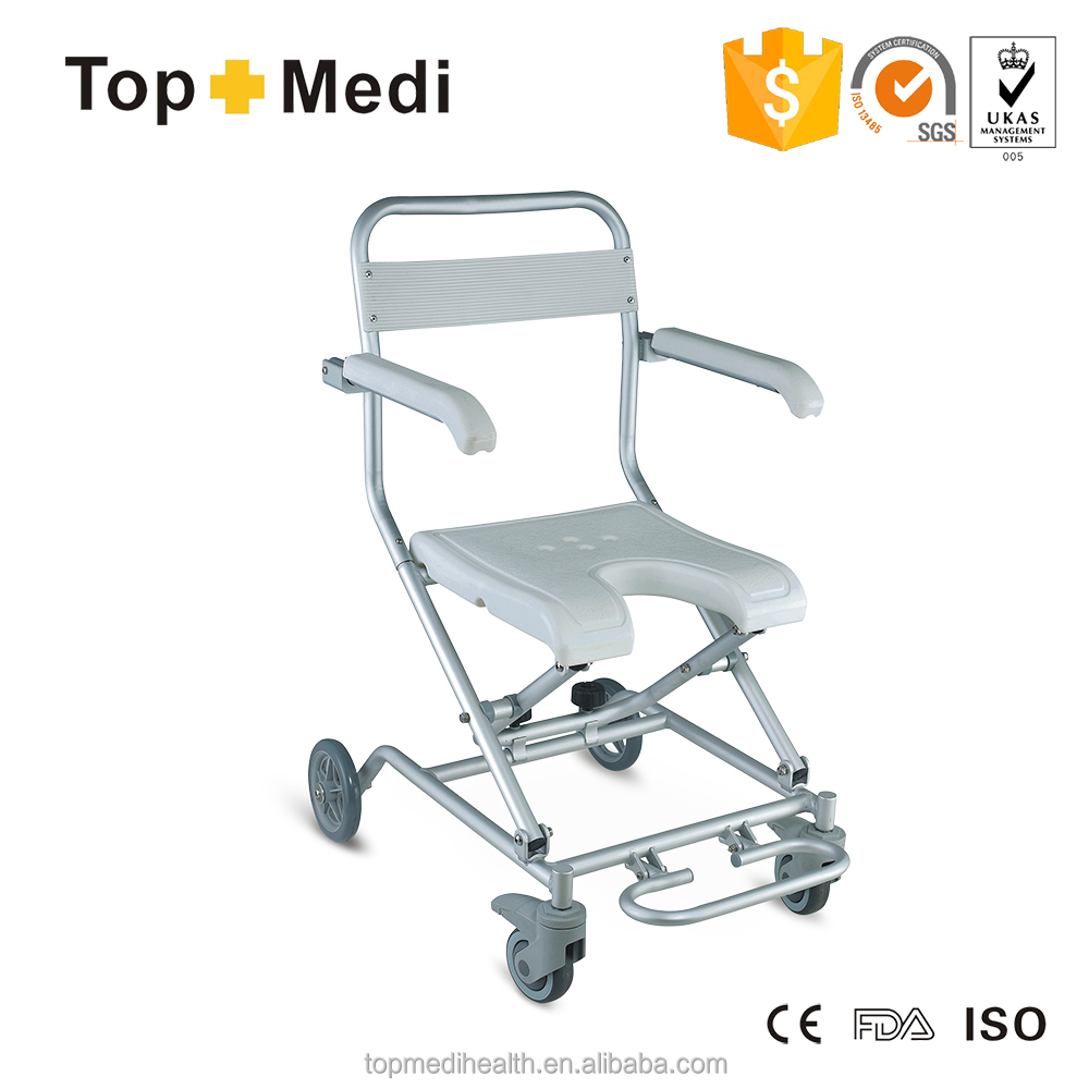 Aluminum Foldable Medical Elderly Bath Shower Chair With Wheels And ...