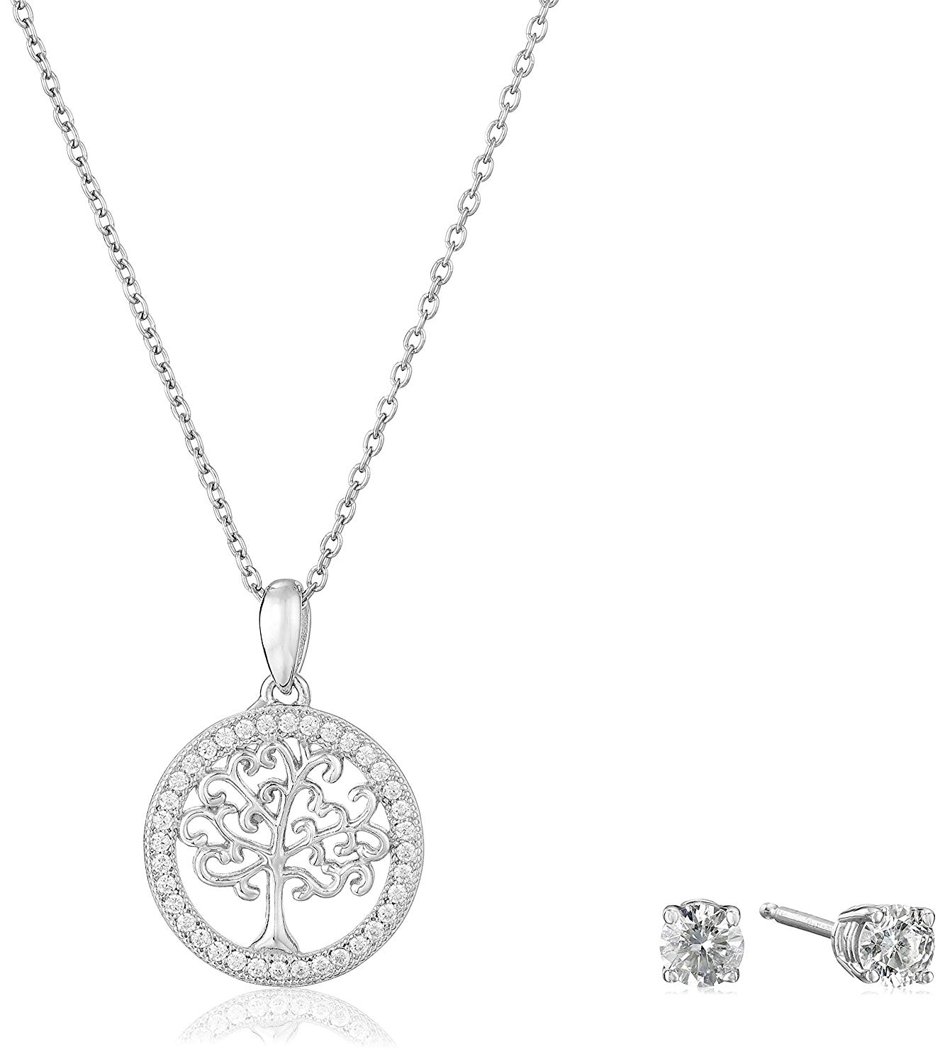 """925 Sterling Silver AAA Cubic Zirconia Family Tree of Life Pendant Necklace and Earrings Jewelry Set, 16"""" + Extender (1.19 cttw)"""