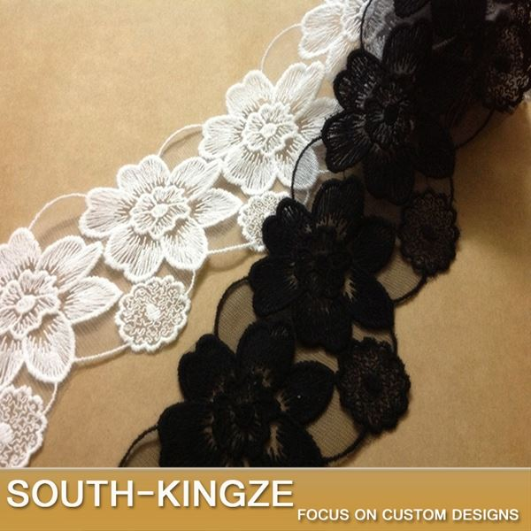 ! 8.5cm White Black double embroidered flower lace trim sewing crafts for decoration HY