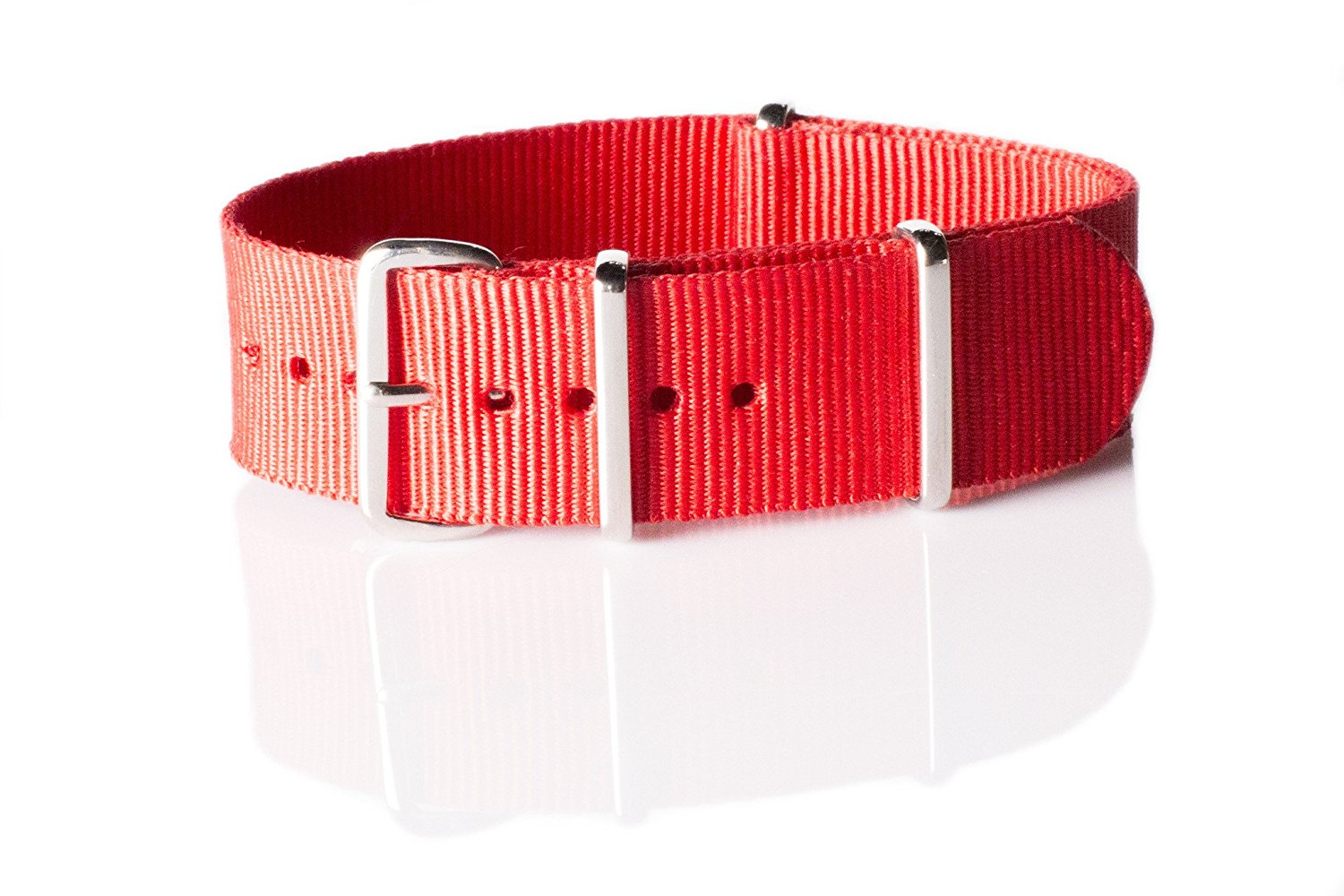NATO G10 Nylon Premium Quality Replacement Watch Band Strap - 20mm / Red - FITS ALL WATCHES - (Military Army, J. Crew, Timex Weekender, Daniel Wellington, Urban Outfitters, Luminox, Seiko, Citizen, Blackout Watches, Victorinox Swiss Army, Rolex and more‎)