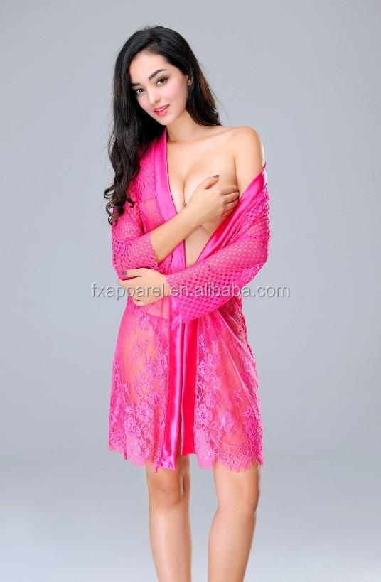 4a2bd7b5104 Rose Long Sleeve Black Net Night Robe Sexy Lace Night Nightdress ...