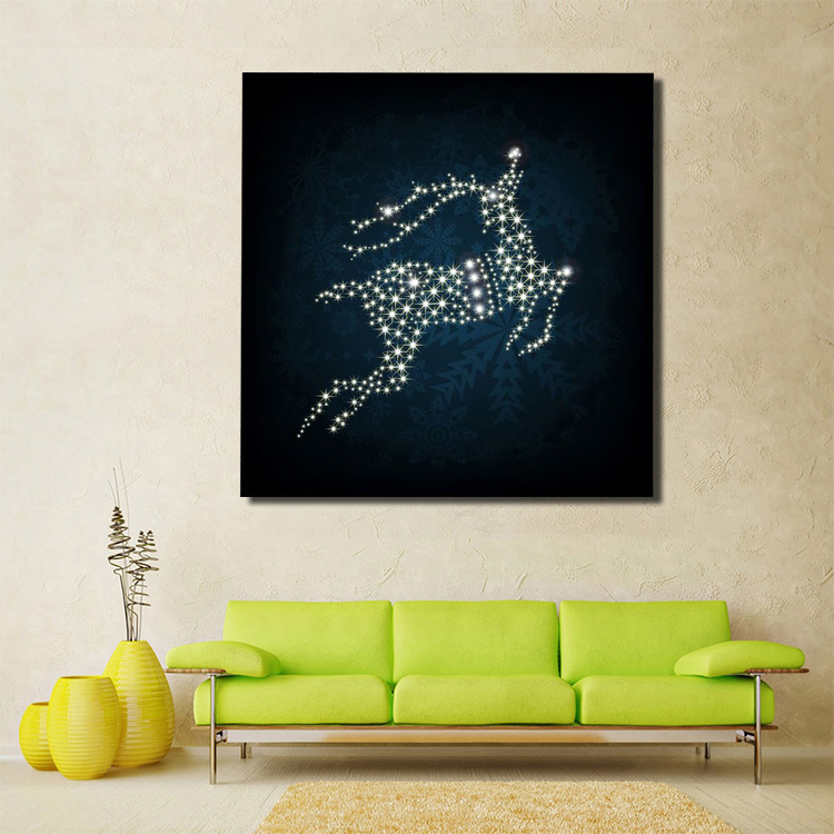Christmas deer LED light print canvas wall decoration Deer Wall Art Canvas Print Light Up Led Canvas Painting