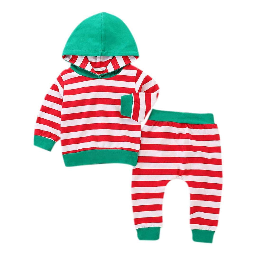 119d1a7d2bc4 Infant Baby Boys Girls Hooded Outfits Set Long Sleeve Tops Striped Pants  Clothes. 3Pcs Newborn Infant Baby Boy Girl ...