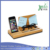 Bamboo multi feature phone charger holder for mobile phone