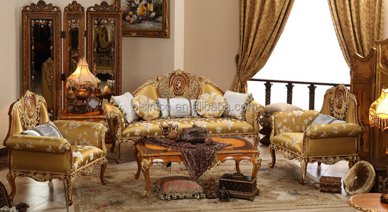 English Vintage Furniture,Living Room Gold Painting Sofa Set,Elegant Carved  Wooden Sofa Set With One Seater - Buy Royal Furniture Sofa Set,Wood ...