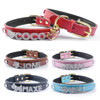 Double Layers Soft Leather Personalized Name Letters Dog Collars