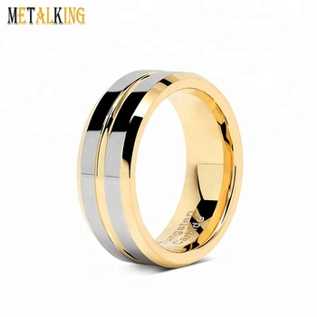 a72d44738d184 8mm Tungsten Rings for Mens Wedding Bands Gold Silver Two Tone Grooved  Polished Comfort Fit, View gold tungsten ring, Metalking, Metalking Jewelry  ...