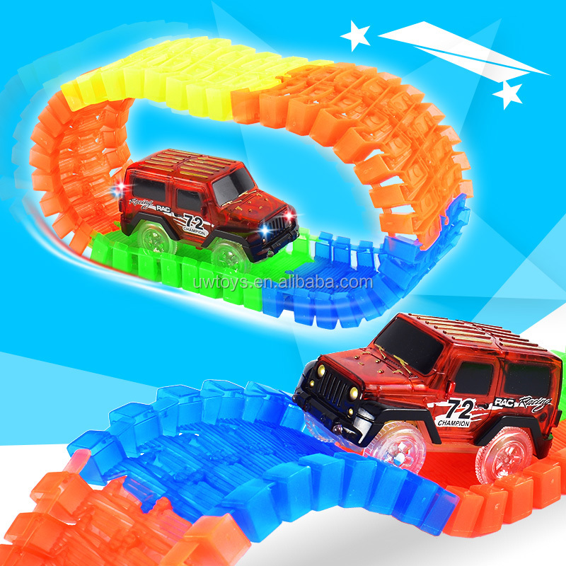 Bend Flex Glow in the Dark kids toys Magical Race track +1pc car random color track slot toy Car for Child Gift
