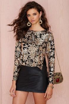 b17dc9d9de0715 Newest design women long sleeve sequin top high/low silhouette side slits  for wholesale