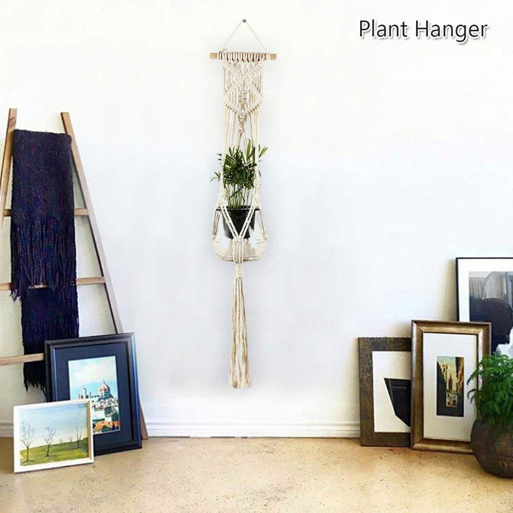 1/2/5 Pack Macrame Plant Hanger Hanging Planter Basket Jute Rope Braided Craft (2-Pack)