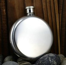 Stainless Steel Round Hip Flask with Custom Logo