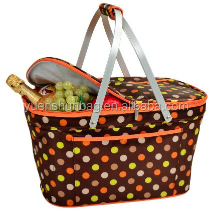 Large Size Family Picnic Basket , Collapsible Cooler Picnic Basket Carrier,Cooler Bag Insulated ( Free sample )