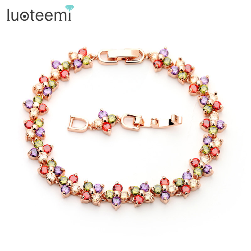 LUOTEEMI Wholesale Free Shipping Real 18K Rose Gold Women Luxury Multi AAA CZ Lucky Flower Wedding Jewelry Bracelets For Bridal