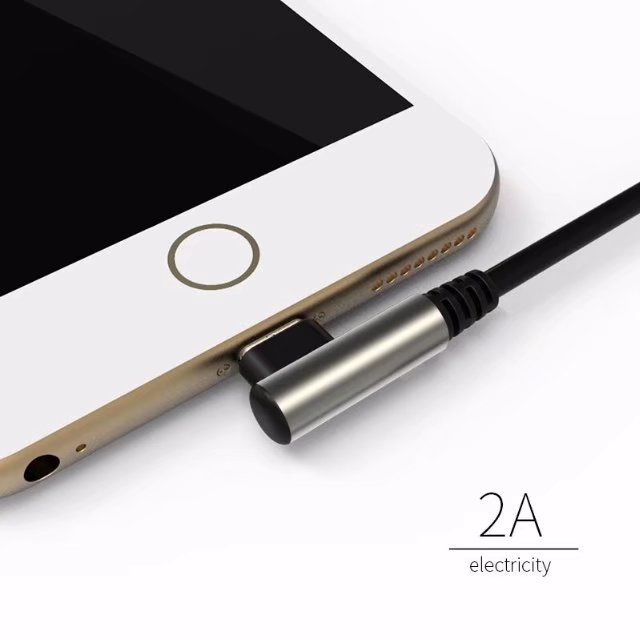 Aluminum Tpe Round 2 4a Cable Fast Charging 90 Degrees Elbow Data Cable  Micro Usb Type C Double Ends Reversible Charger Cable 1m - Buy 90 Degrees