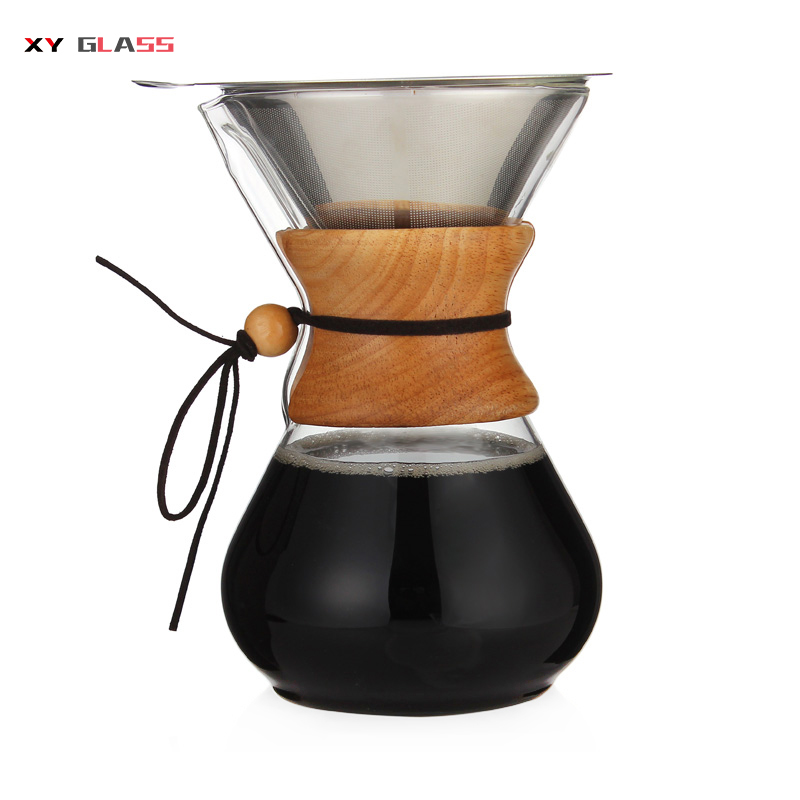 Handmade portable heatproof pyrex cooking glass wooden collar coffee pot