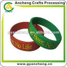 no beer no life screen print silicone wristband/bracelets